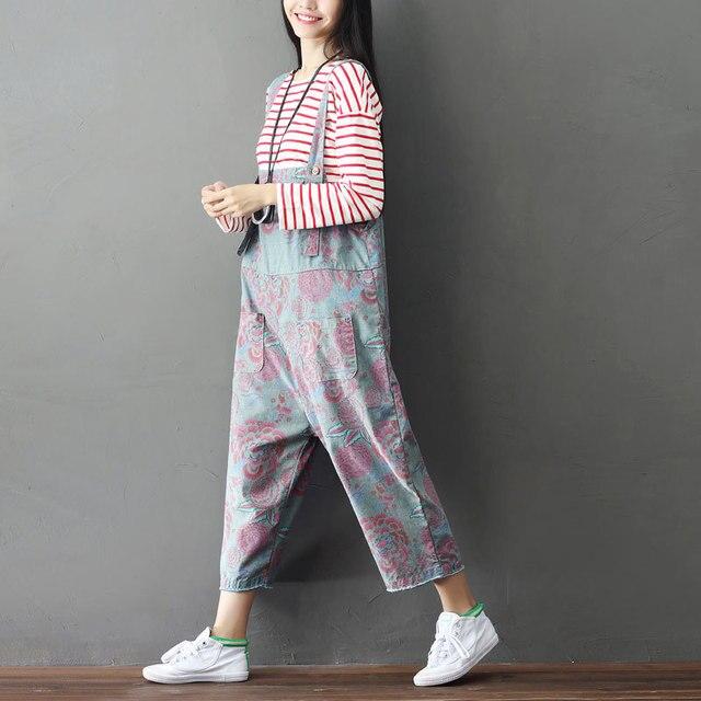 87d78af1aeb Bohemian Hippie Boho Baggy Loose Harem Pantalon Jumpsuits Overalls Cotton  Print Denim Cotton Jeans Pants for