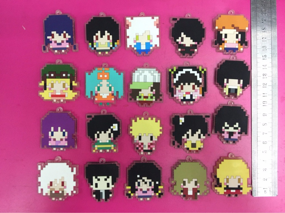 Toys & Hobbies 20 Pcs/set Anime Nisemonogatari Pvc Figure Toy Rubber Phone Strap/keychain Picture Element Pixels Pendant Toys For Gifts