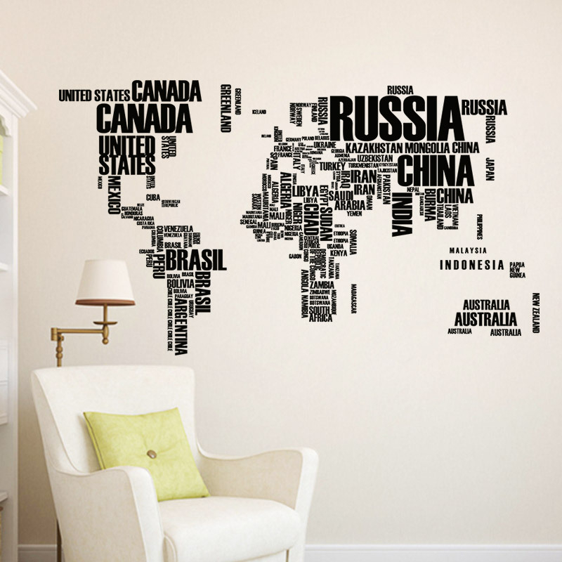 Black Letters World Map Wall