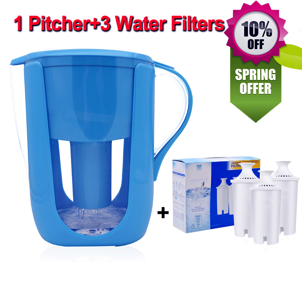 Household Water Pitcher Kitchen Water Filter Kettle 1 Pitcher+3 Cartridge Water Filters Activated Carbon for Brita Filter 10Cups carbon water filters cartridge healthy clean device new household filters purify kettle activated for brita water pitcher