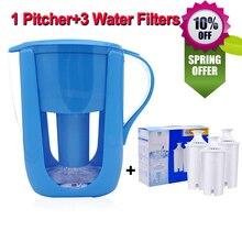 Jarra de agua de la cocina del hogar del filtro de agua hervidor 1 lanzador + 3 cartucho de filtro de carbón activado para brita filtros de agua 10 tazas