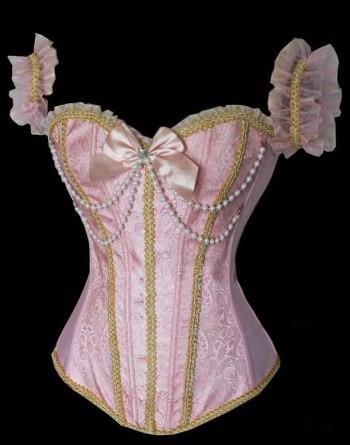 Women's Vintage pink Overbust Gothic vest corset Bustier Sexy Hot Elegant Waist Trainer Plus Size S 2XL