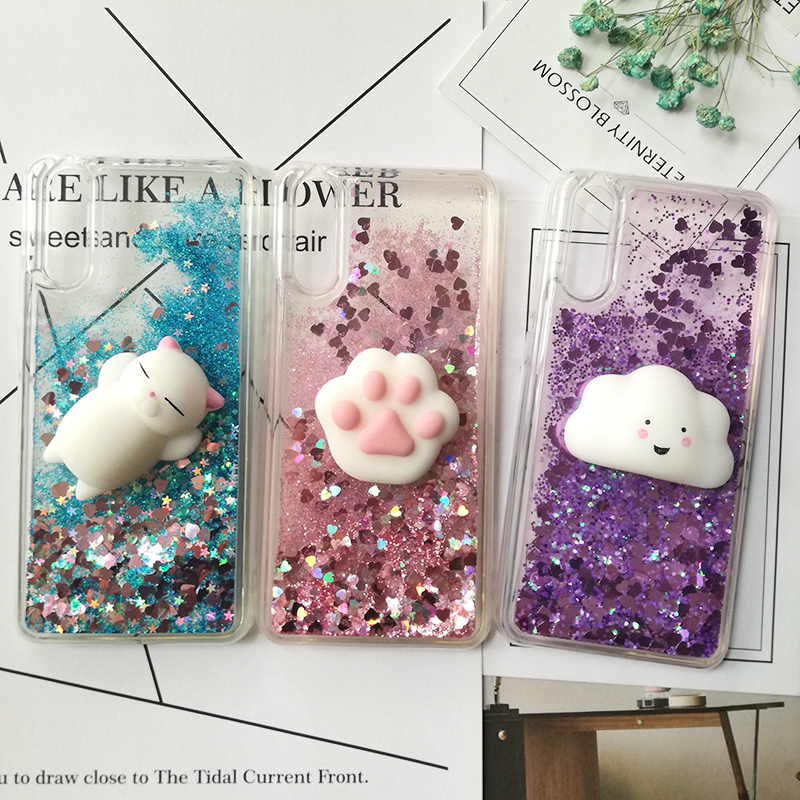 Cute 3D Squishy Cat Case For Huawei P20 pro P8 P9 lite P10 Plus Liquid Glitter phone Case Mate 9 Y5 GR5 2017 Y6 II Y9 2018 Cover