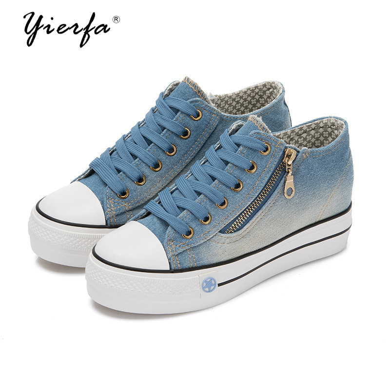 2017 spring denim canvas shoes female Korean version of the increase in thick bottom shoes women shoes e toy word canvas shoes women han edition 2017 spring cowboy increased thick soles casual shoes female side zip jeans blue 35 40