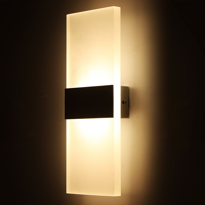 Modern LED Wall Light Bedroom Black White Acrylic Lamp High Quality AC90 260V Indoor Sconce Home Lighting Fixture In Lamps From Lights