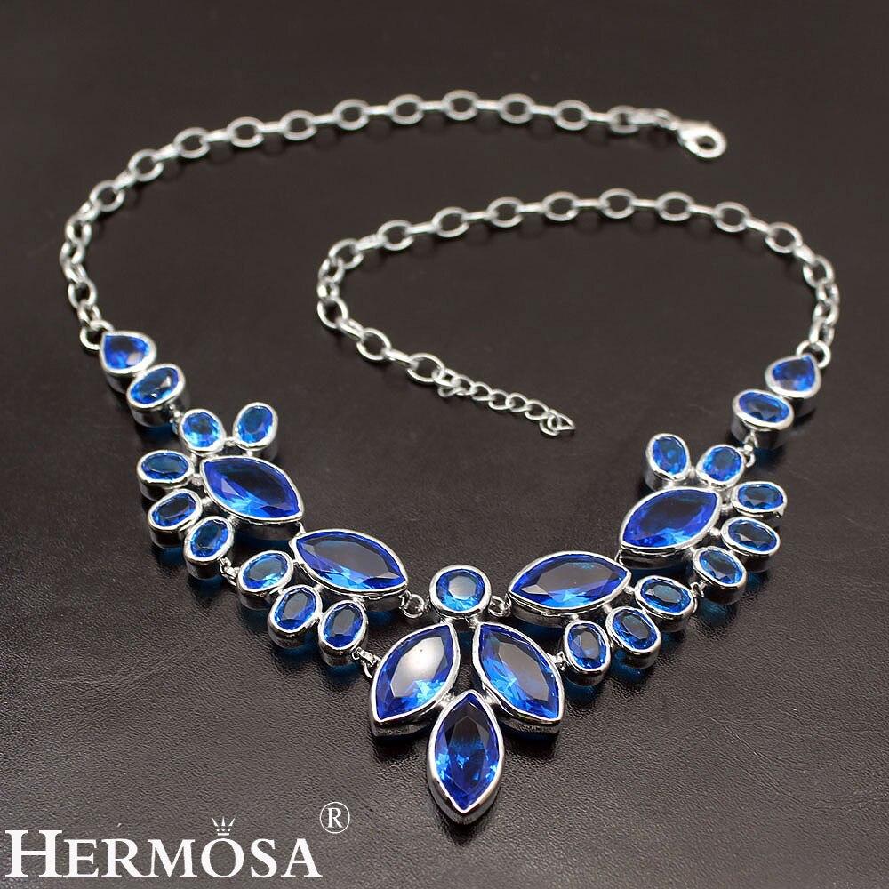 Énormes robes de bal bleu océan Topaz925 en argent Sterling femmes beaux bijoux charmes colliers 20 pouces livraison gratuite