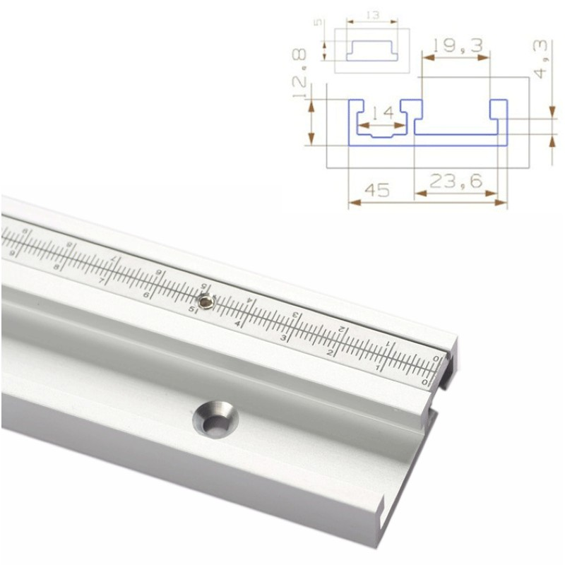 Aluminum Alloy 45mm T-Tracks With Scale & Miter Track Stop 600/800mm T- Slot Miter Bar Table Saw Woodworking Workbench DIY