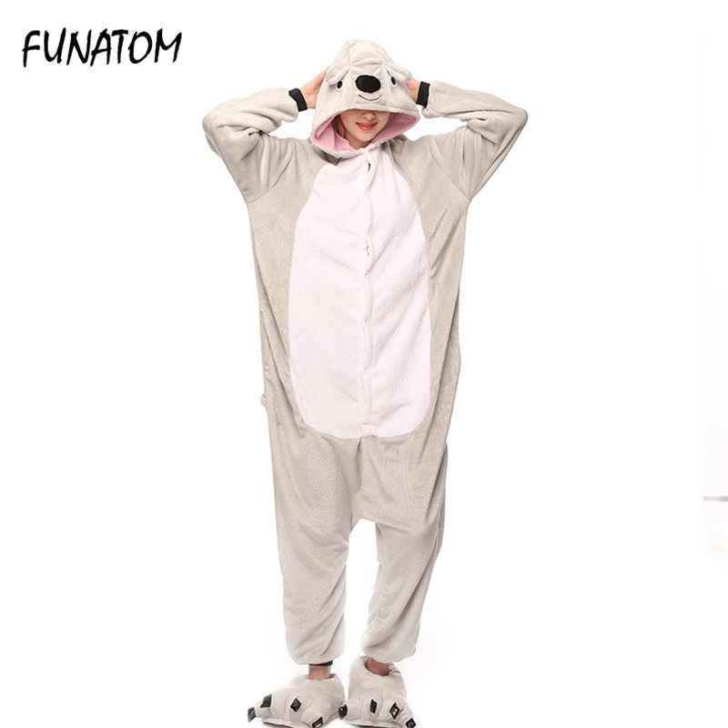 2018 зимние теплые фланелевые комбинезон для взрослых для женщин мужчин  коала комбинезоны животных комбинезон пижамы мультфильм 861e71b2dfbea