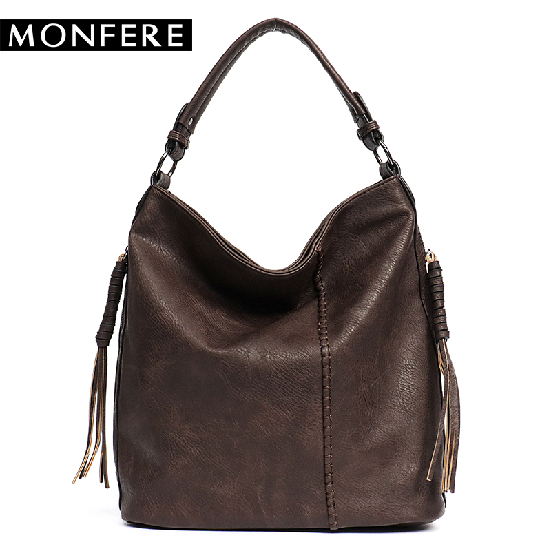 цены MONFERE Faux Leather Hobo Handbag Large Tote Women Daily Shoulder Bag Female Tassel Thread Top-handle Crossbody Ladies Bag 2018