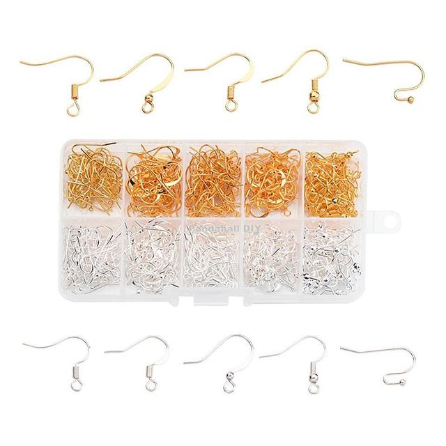 1 Box Five Styles Brass Earring Hooks, Golden and Silver, 16~21x12~19mm, Hole: 2mm, Pin: 0.6mm; about 20pcs/compartment,