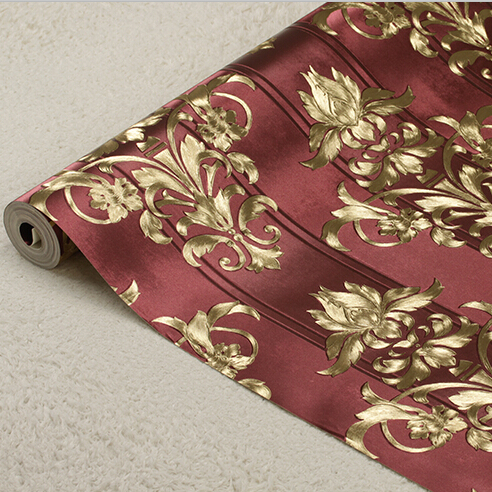 3D Damascus Luxury Background Wallpapers European 3D PVC Embossed Wall Paper Living room Bedroom Floral Striped Wallpaper Roll