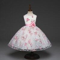 5240 Różowy Kwiat Księżniczka Kostium Party Girls Dress-Line Dzieci Sukienki Dla Dziewczynek Letnia Sukienka Hurtownie Baby Girl Odzież 5 działka