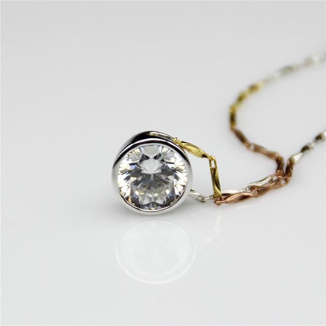 Moissanites Esdomera Bezel Set 1ct Lab Grown Moissanites Solitaire Pingente de Diamante 14 k Ouro Branco Pingente de Diamante Colar