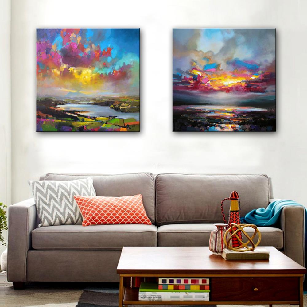 Kumsal duvar boyas rengi ile modern ve k ev dekorasyonu -  Cretsiz Nakliye El Boyal Ya L Boya Renk Bulutlar Denizde Dekorasyon Boyama 2 Set Ev Dekor Modern Duvar