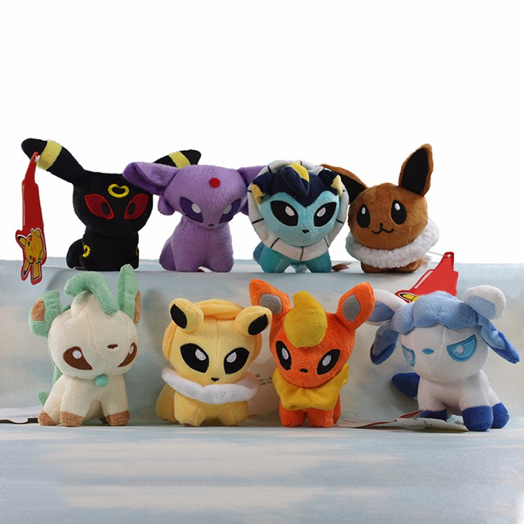 "Cartoon Plush Toys 8 styles Umbreon Eevee Espeon Jolteon Vaporeon Flareon Glaceon Leafeon Pikachu 5"" Soft Stuffed Animals Dolls"