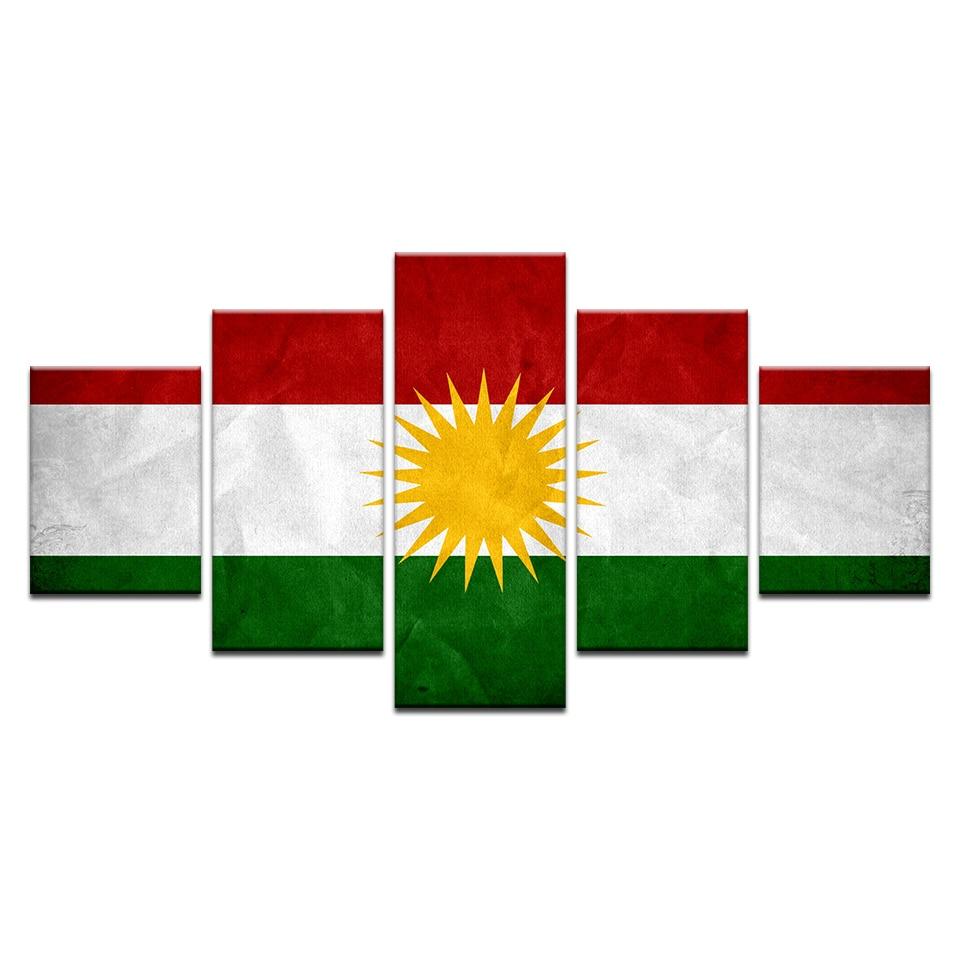 Modern Hd Flag On Wall Art Kurdistan Banner Poster Home