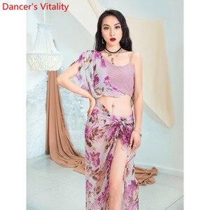 Image 5 - אופנה בטן ריקוד חדש חוט שיפון ארוך ירך בפועל צעיף בגדי נשים מזרחי הודי ריקוד 2 צבעים ביצועים תלבושות