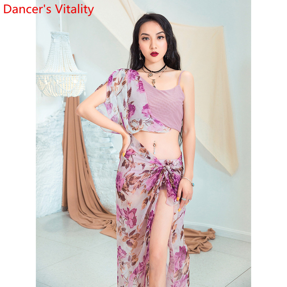 Image 5 - Fashion Belly Dance New Yarn Chiffon Long Hip Scarf Practice Clothes Women Oriental Indian Dance 2 Colors Performance Costume-in Belly Dancing from Novelty & Special Use