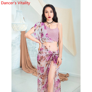 Image 5 - Fashion Belly Dance New Yarn Chiffon Long Hip Scarf Practice Clothes Women Oriental Indian Dance 2 Colors Performance Costume
