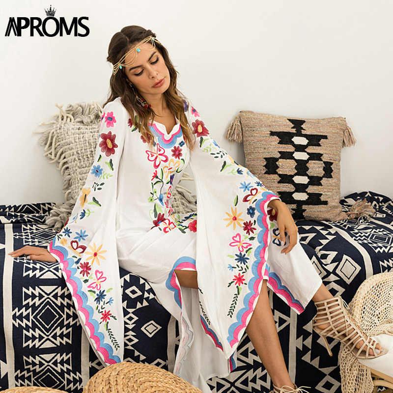 15d35a1d99 Aproms Bohemian Long Flared Sleeve Multi Flower Embroidery Maxi Dress Women  Sexy Boho Side Split Festival