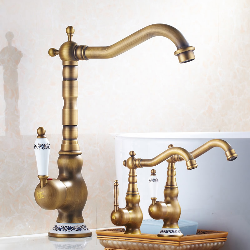 Modern Brass Ceramic Handle Bathroom Sink Mixer Faucet Antique Rotation Bathroom Kitchen Hot and Cold Water