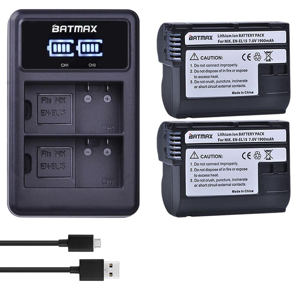 Batmax 2 piezas EN-EL15 EN EL15 ENEL15 batería + LED cargador Dual USB para Nikon DSLR D600 D610 D800 D800E d810 D750 D7000 D7100 V1