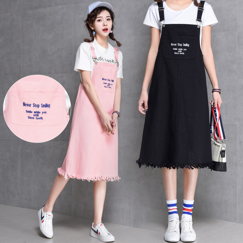 b8c6658219bc0c3 Fashion Summer Cute Preppy Style Denim Dress Women 2018 New Female Casual  Lovely Embroidery English Letters