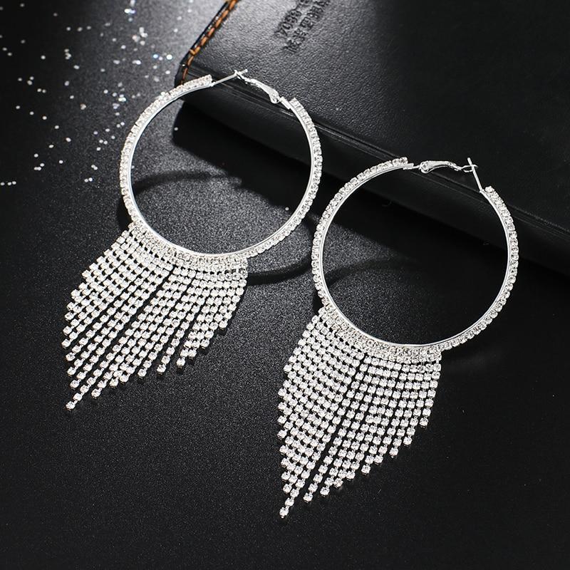 YFJEWE 2019 New Circle Luxury Crystal Tassel Earrings for Women Girl Wedding Party Charm Elegant Long Earring Jewelry Gift #E618