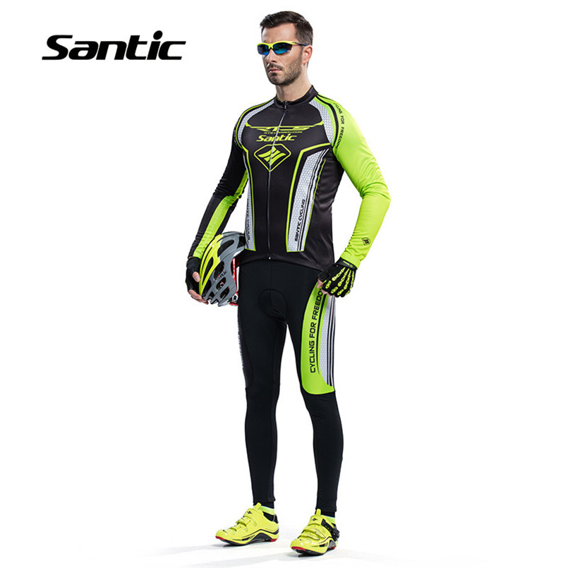 Santic Cycling Jersey Sets Men Long Sleeve Bicycle Suits Kit Pro Racing Team Cycling Clothing Bike Set Conjunto Ropa Ciclismo high quality pro team rock racing bike cycling clothing men summer ropa ciclismo breathable short sleeve cycling jerseys sets