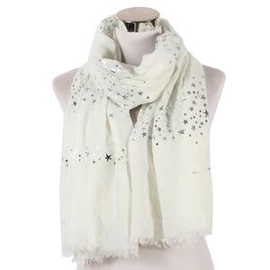 Image 2 - FOXMOTHER חדש אופנה שחור לבן כהה צבע רדיד רסיס כוכב שוליים צעיף חיג אב מוסלמי צעיף כורכת צעיפי כוכב נשים גבירותיי