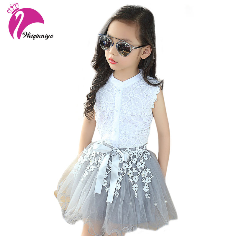 Fashion Baby Girls Clothing Sets New Summer 2017 Sleeveless Tops Tees + Lace Skirt 2 Pcs Suit Casual Children Pullover Clothes new 2017 summer baby girls sets fashion children floral sleeveless pullover pants 2 pieces clothes casual o neck polka dot suit