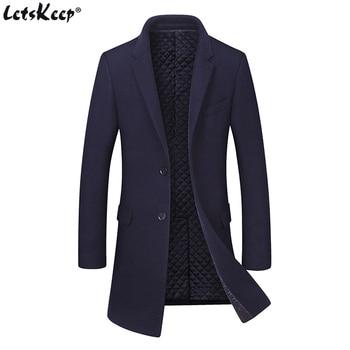 LetsKeep Winter Long wool coat men Thick woolen trench coat Windbreaker mens casual outerwear warm overcoat Plus size , MA523