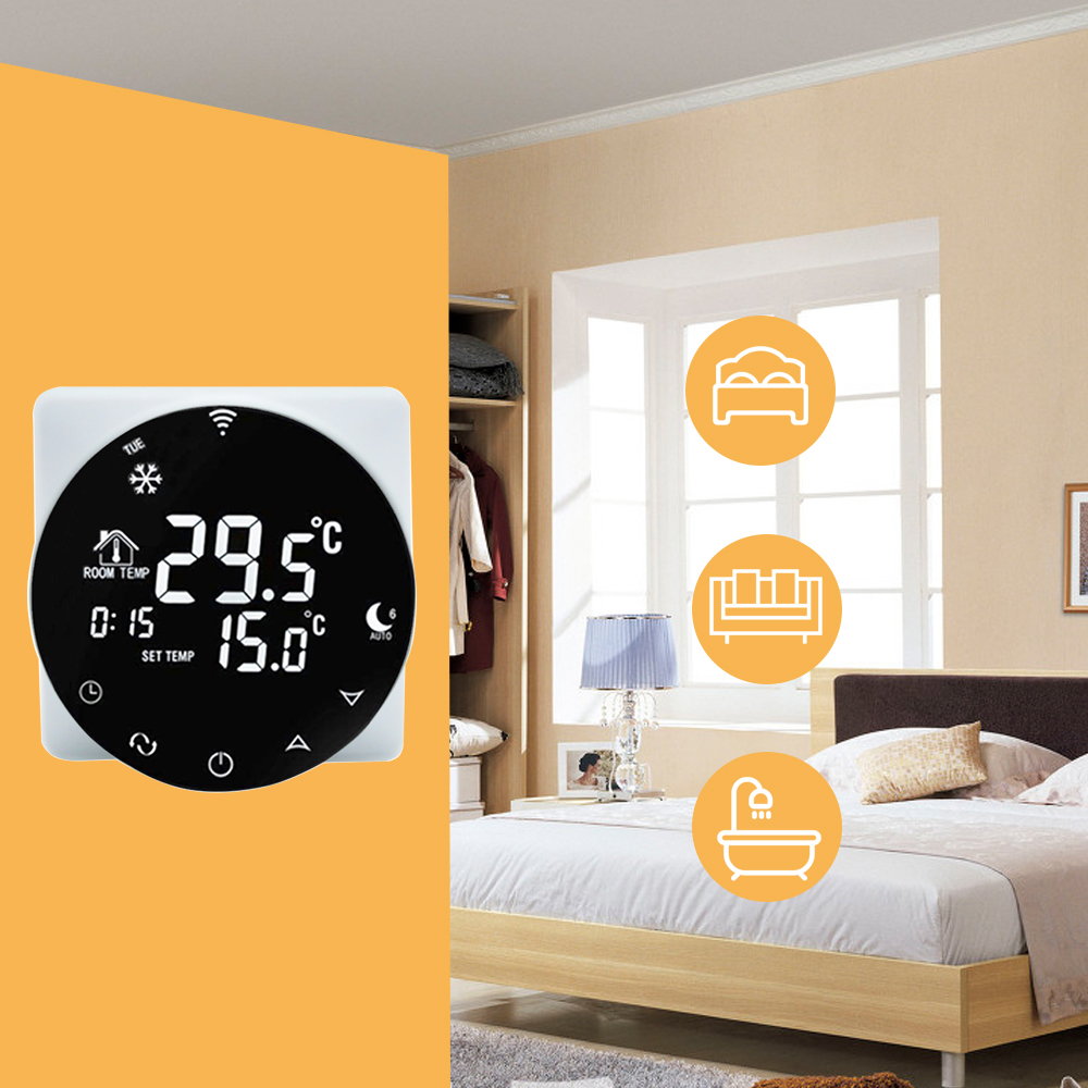 2019New Thermostat Alexa WiFi Thermostat Electric Floor Heating Thermostat Voice Programming Google Home LCD TouchScreen Digital