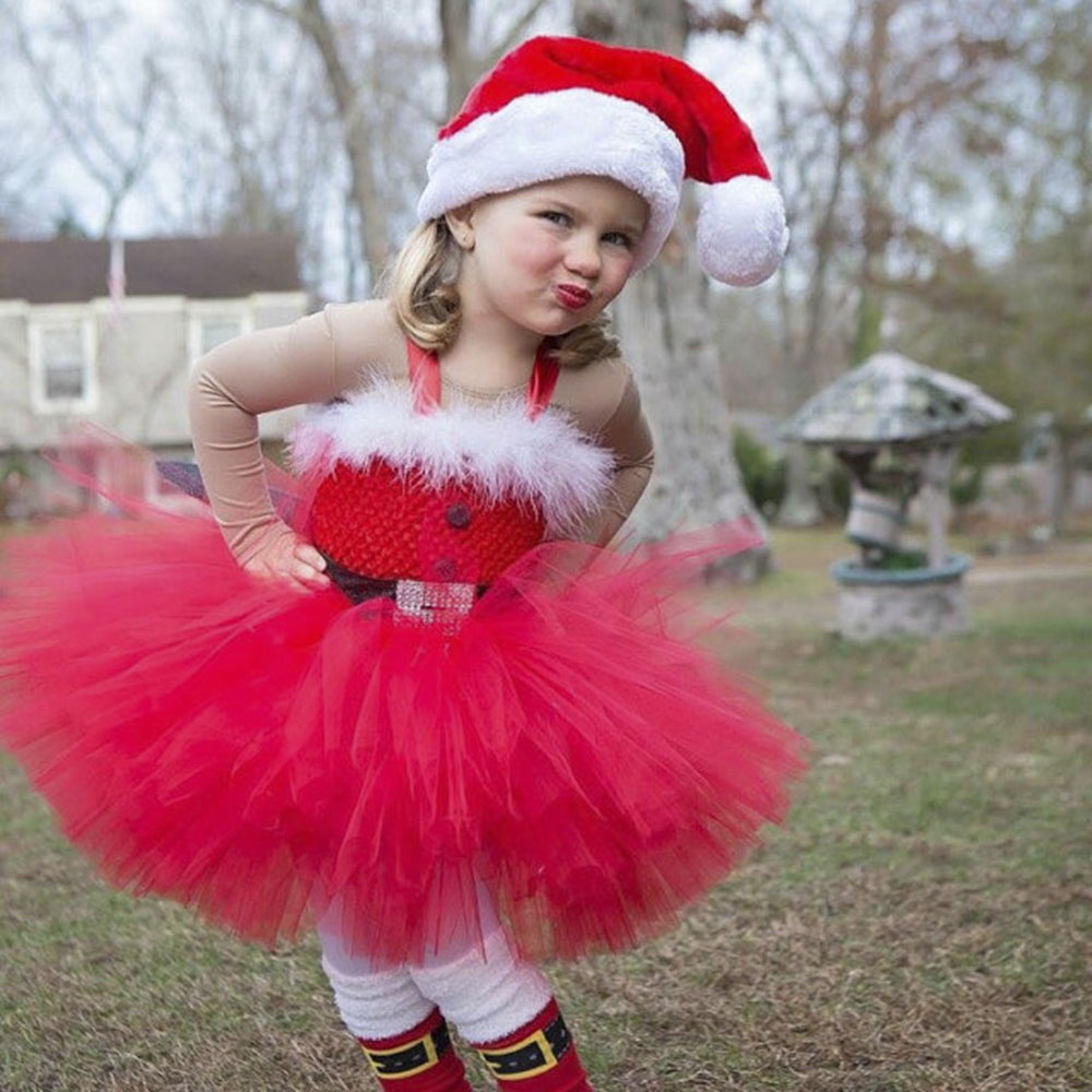 Girls Christmas Santa Winter Dress with Feather and Sashes Handmade Red Puffy Dress for Kids Birthday Tutu Party Dress Clothes (14)