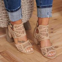 Women Hollow Out Square Heel Wedges Sandals