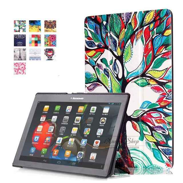 Painted Cover for Lenovo TAB 2 10.1 X30F A10-30 for Tab 2 A10-70 Case PU Leather Stand Folio Smart Case for TAB2 A10-70 10.1inch