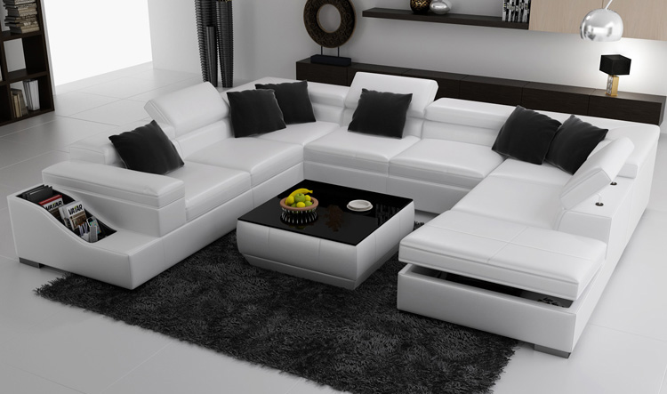 Good Excellent White U Shape Living Room Couch With White Couches