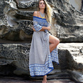 Bohemian Dress Autumn Half Sleeve Off The Shoulder Sexy Women's Dresses Long Floral Print Beach Dress Split Dress