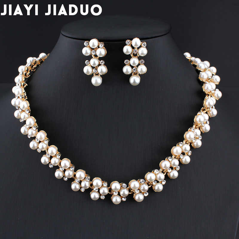 jiayijiaduo Wedding dress jewelry set Imitation pearl necklace earrings set For women's charm party jewelry gift Christmas 2017