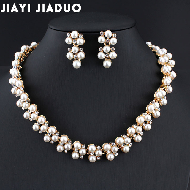6c42c78105d US $4.95 43% OFF jiayijiaduo Wedding dress jewelry set Imitation pearl  necklace earrings set For women's charm party jewelry gift Christmas  2017-in ...