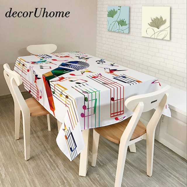 DecorUhome Polyester Waterproof Rectangle Tablecloths Music Note Piano  Guitar Oilproof Table Cloth Home Banquet Table Covers
