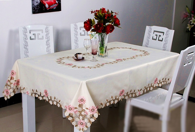 Awesome ... Vezon Elegant Polyester Satin Embroidery Pink Daisy Tablecloth  Embroidered Floral Table Cloth Cover Overlays Home Decor ...