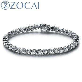 ZOCAI Real Natural 4.0 CT Diamond Certified IJ/SI em 18 K White Gold (Ouro AU750) Pulseira S00200