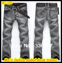 Free Shipping Europe style Mens new stylish trendy straight cut washed grey brand denim jeans/trousers QR-2277
