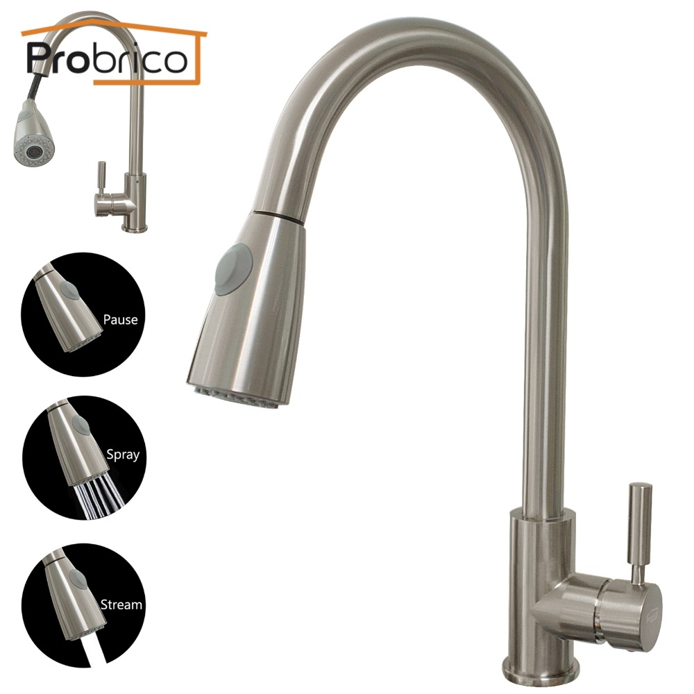 Probrico Brushed Nickel Mixer Water Tap Pull Out Down Swivel Spout Kitchen Sink Faucet Brass KFQY0202SN USA Domestic Delivery probrico brushed nickel mixer water tap pull out down swivel spout kitchen sink faucet brass kfqy0381sn usa domestic delivery