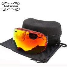 Marque ski lunettes double couches anti-brouillard grande vision masque motocross lunettes neige motoneige snowboard lunettes avec la boîte d'origine