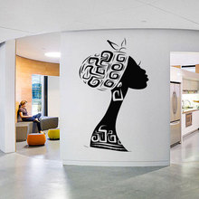 Beautiful African Woman Wall Decal Tribal Girl Vinyl Sticker Fashion Shop Store Black Women Room Decoration New AM05