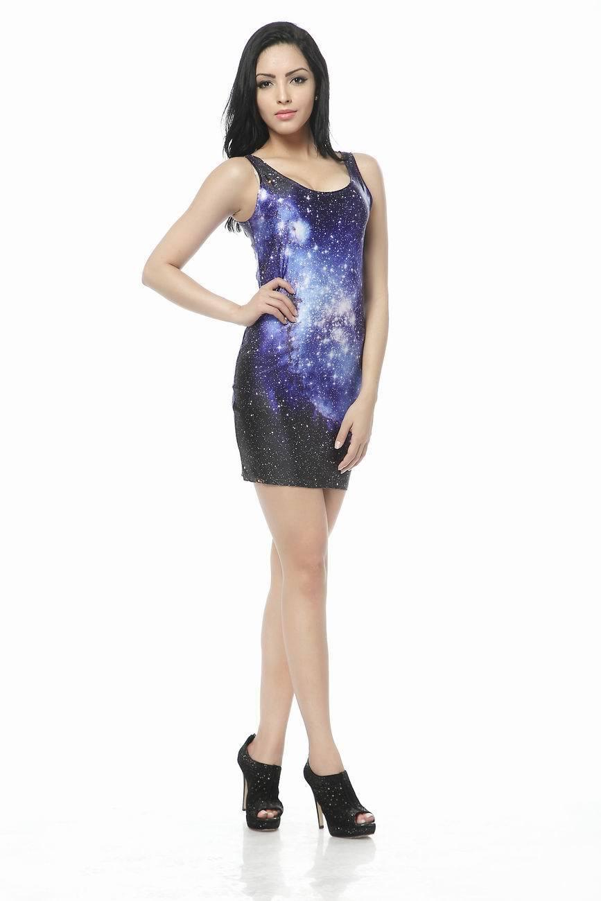 b9e366e3e6e09 Moda Galaxy Yıldız Baskılı Seelvess Mavi Ve Siyah Elbise Yaz Kadın Casual  Elbise