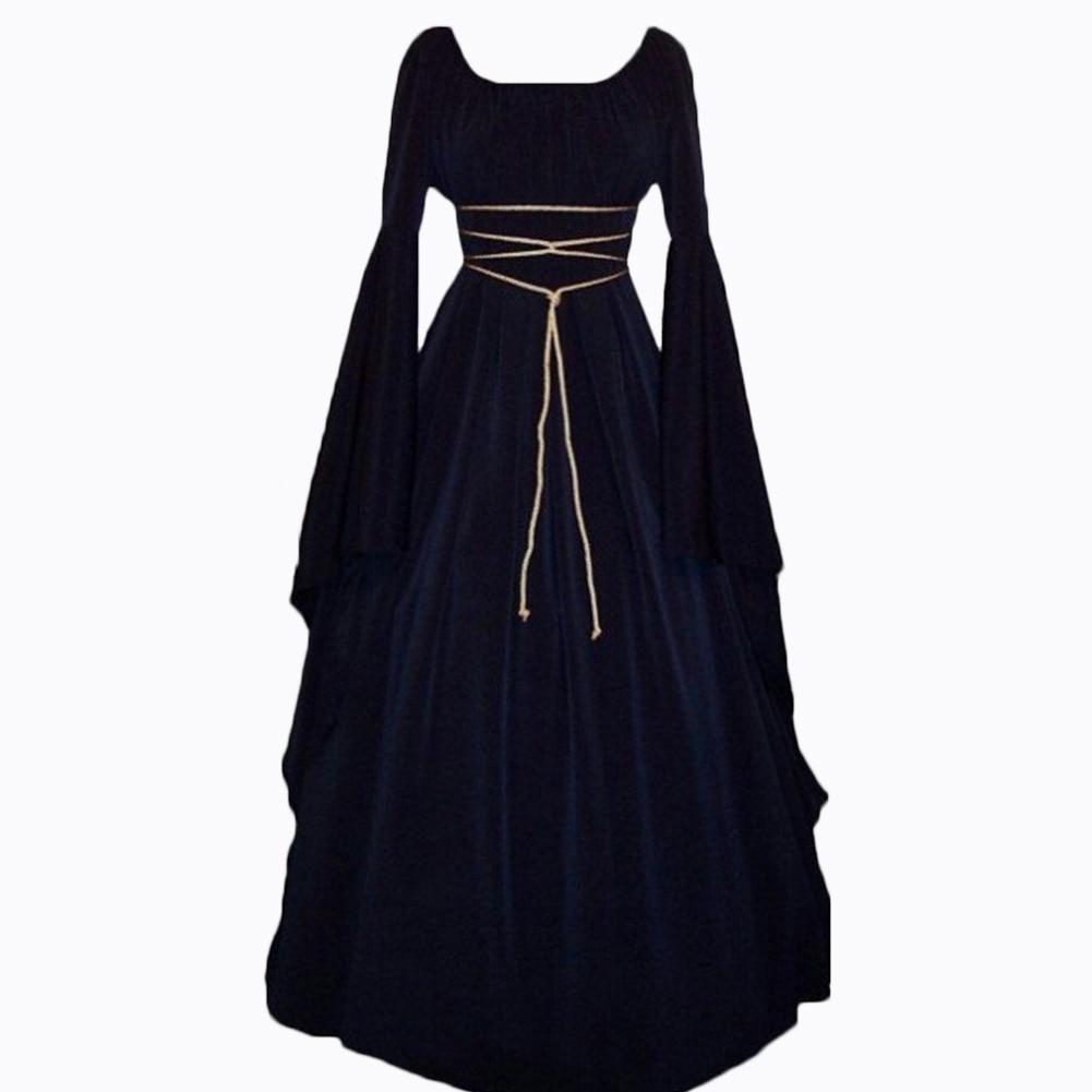2018 Dress Fashion Vintage Style Women Medieval Gothic Dress Floor ...