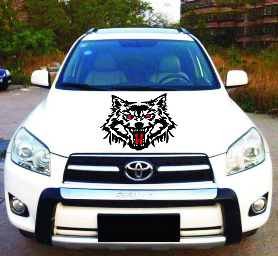OCT 23 Car Vucuiys Wolf head Animal Door Decal Vinyl Graphics Auto Front/Side stickers 2pcs/set-in Car Stickers from Automobiles & Motorcycles